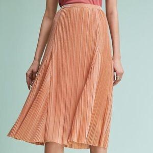 Anthro Maeve Ambra Rose Gold Pleated Skirt